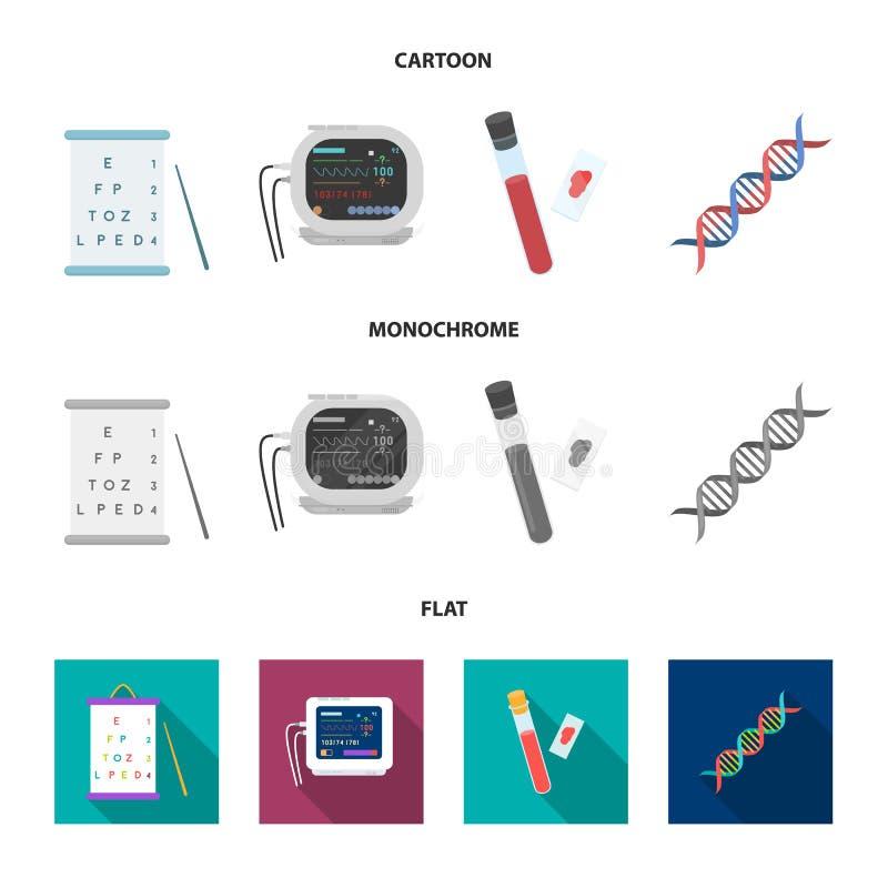 Een lijst van visietests, een bloedonderzoek, een DNA-code, een ECG-apparaat Pictogrammen van de geneeskunde de vastgestelde inza royalty-vrije illustratie