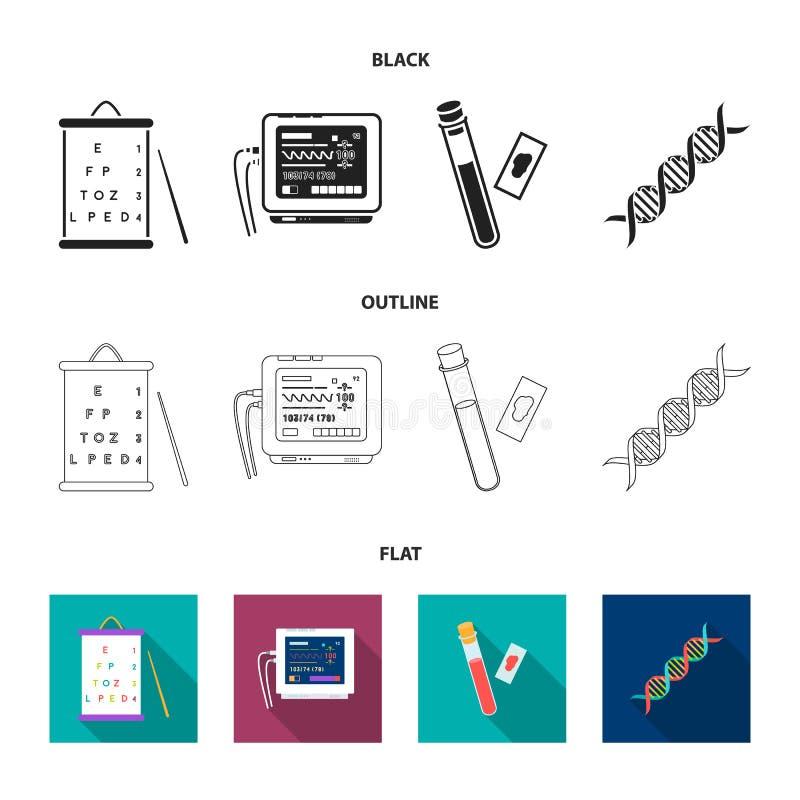 Een lijst van visietests, een bloedonderzoek, een DNA-code, een ECG-apparaat Pictogrammen van de geneeskunde de vastgestelde inza stock illustratie