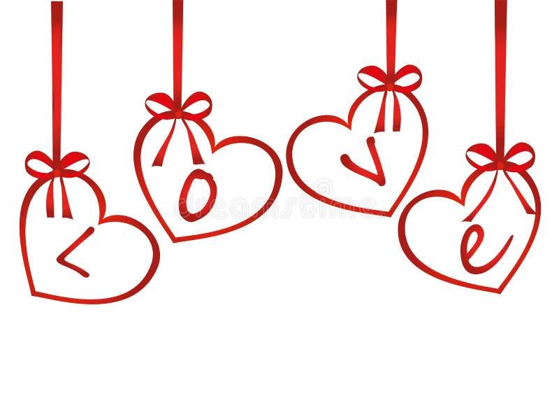 Een lint in de vorm van harten Rode bogen De kaart van de groet of uitnodiging vector illustratie