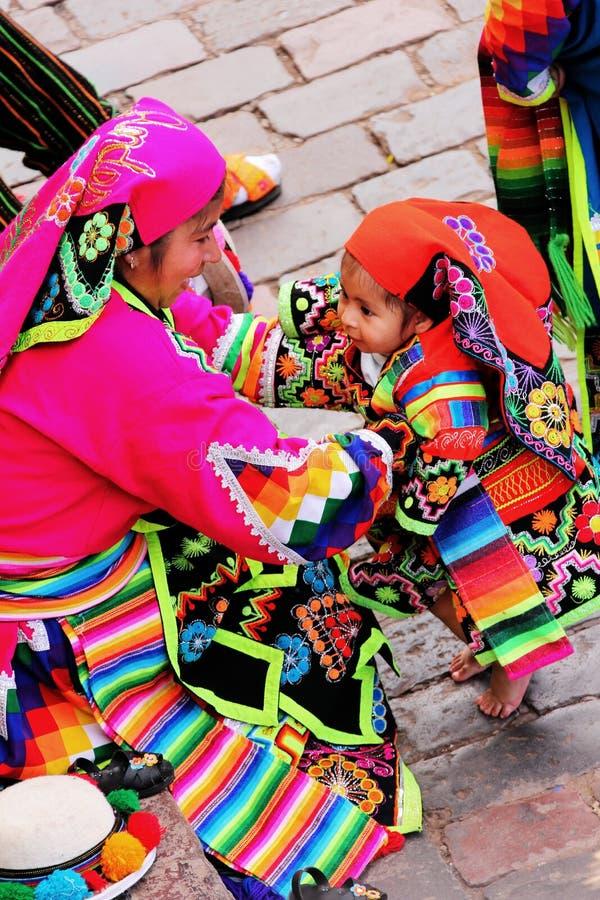 Een lokale familie van Cusco royalty-vrije stock foto