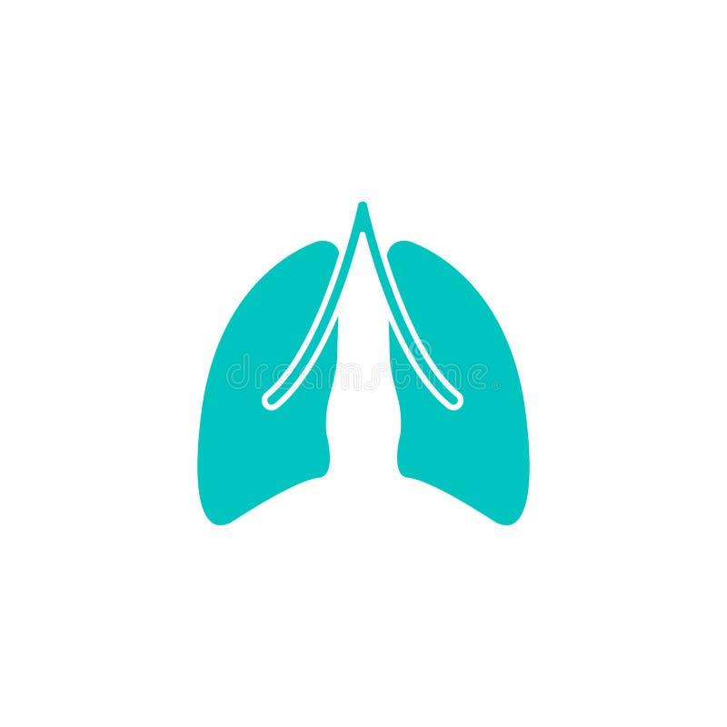 Een longen stevig pictogram, orgaan en deel van lichaam stock illustratie