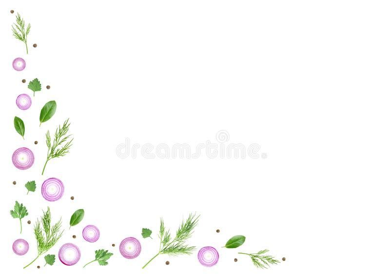 Een luchtfoto van kleurrijk die hoekkader van verse purpere gesneden ui met de bladeren, de peterselie, de dille en de peperbolle stock illustratie