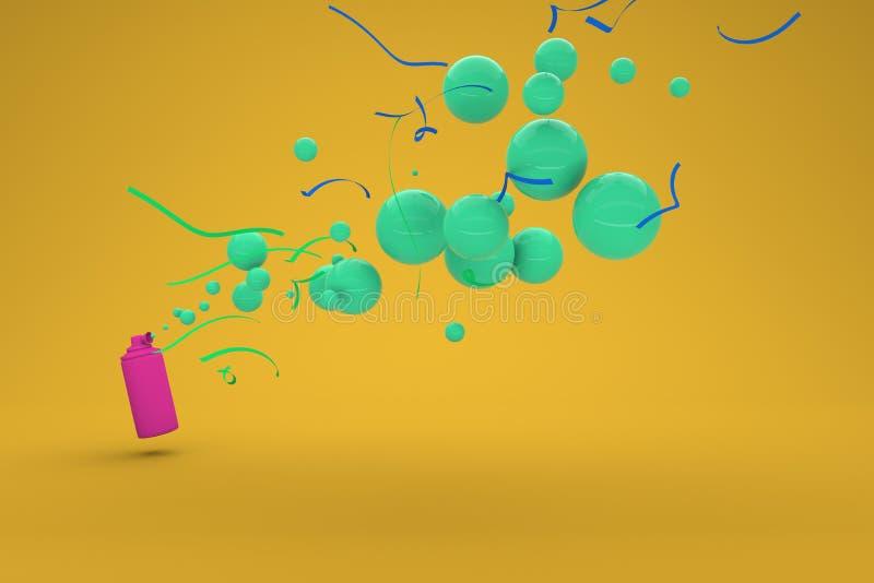 Een luchthoorn blaast uit feestelijke bellen Concept voor partij of uitnodiging 3d geef terug royalty-vrije illustratie