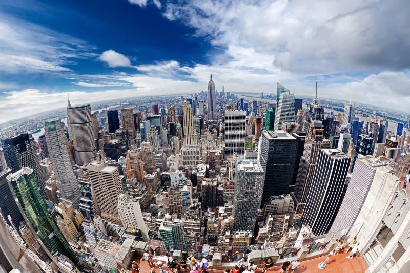 Een luchtmening over de stad van Manhattan New York royalty-vrije stock fotografie