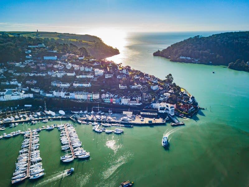 Een luchtmening van Dartmouth in Devon, het UK royalty-vrije stock foto