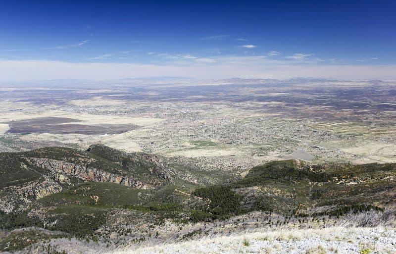 Een Luchtmening van Siërra Uitzicht, Arizona, van Carr Peak stock afbeelding