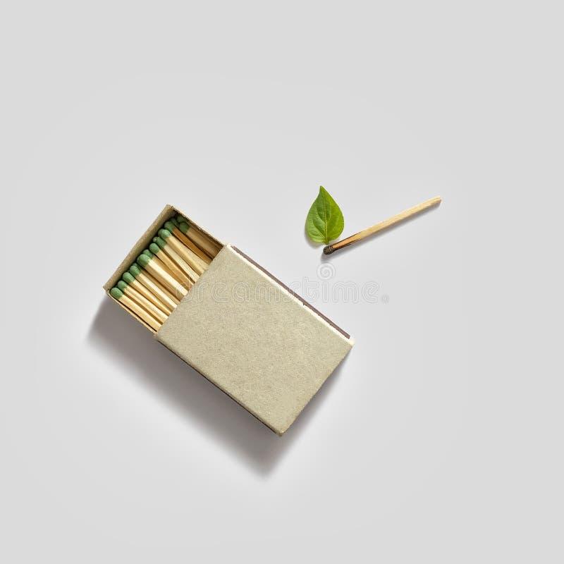 Een lucifersdoosje en een gelijke met een groen blad als vlam op een witte achtergrond mens die brandblusapparaat controleert royalty-vrije stock foto
