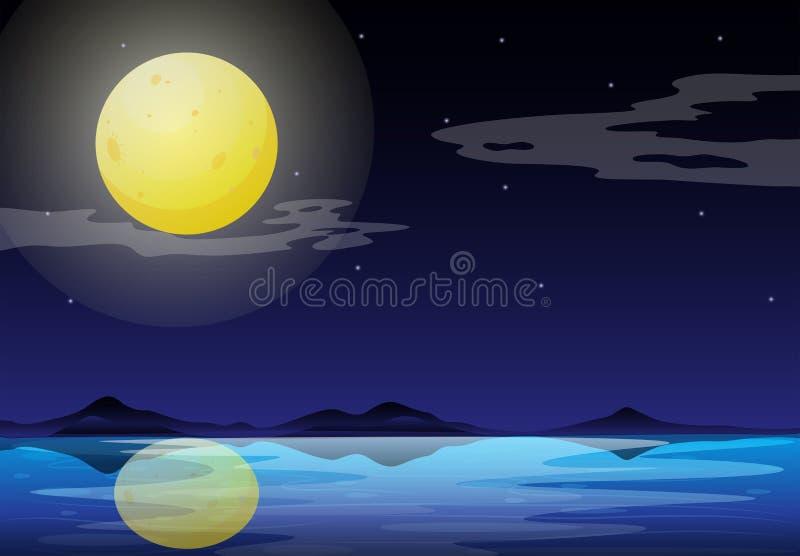 Een maanlichtlandschap vector illustratie