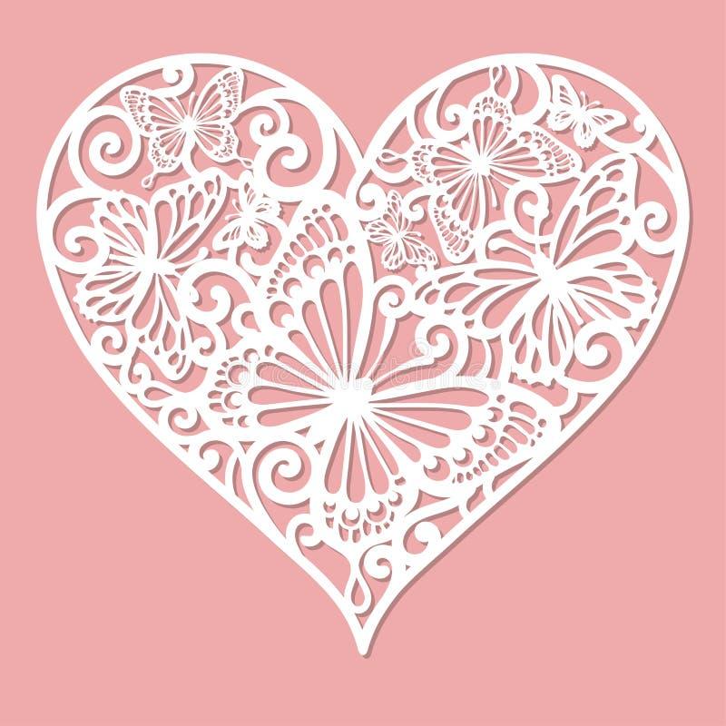 Een malplaatje voor laserknipsel Openwork hart royalty-vrije illustratie