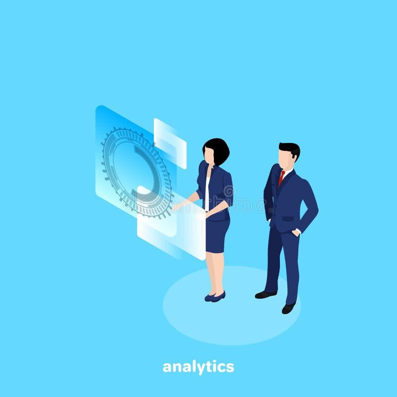 Een man en een vrouw in bedrijfskleren analyseren informatie over een virtuele vertoning stock illustratie