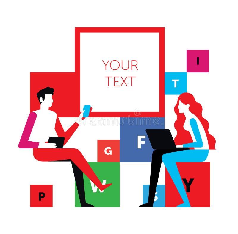 Een man en een vrouw communiceren op een vergadering Vectorillustratie, die op witte achtergrond wordt geïsoleerd Een gesprek tus stock illustratie
