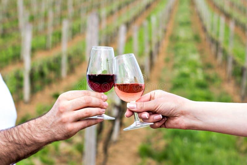 Een man en een vrouw controleren met glazen wijn Glazen met rode wijn in de vrouwelijke en mannelijke handen wijn het proeven, wi royalty-vrije stock foto's
