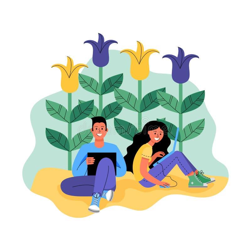 Een man en een vrouw met laptops door bloemen wordt omringd die Vector illustratie stock illustratie