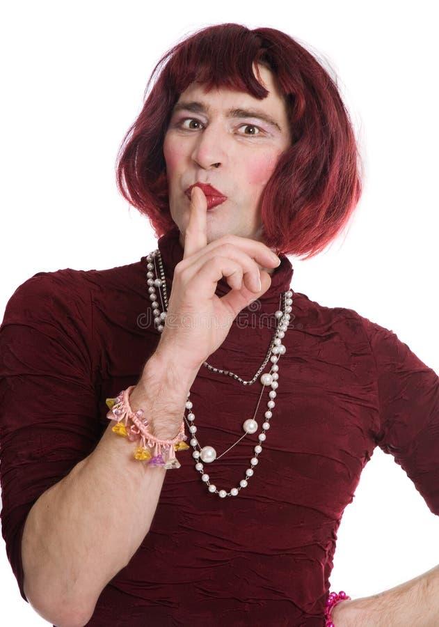 Een man kleedde zich als vrouw royalty-vrije stock afbeelding