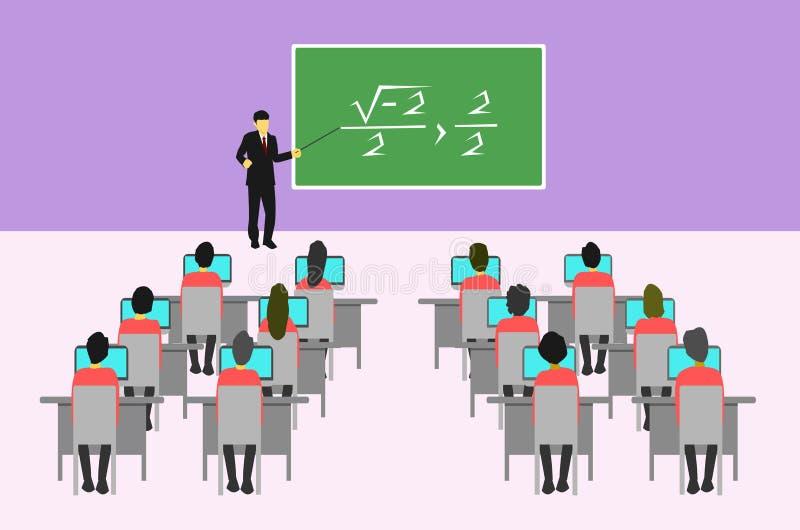 Een mannelijke leraar richt aan het bord om de studenten in het klaslokaal te onderwijzen stock illustratie