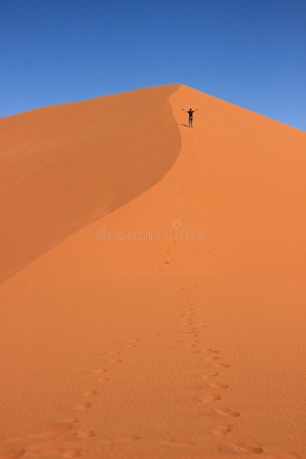 Een mannelijke reiziger in sportkleding bevindt zich op het oranje zand van een duin in het Nationale Park van Sosusfle, royalty-vrije stock afbeeldingen