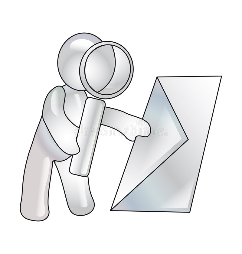 Een mannequin kijkt over brieven in vergrootglas royalty-vrije illustratie