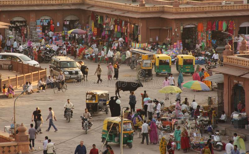Een marktscène in Jodhpur stock fotografie