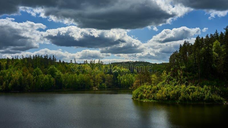 Een meer in het midden van een dicht bos stock afbeeldingen