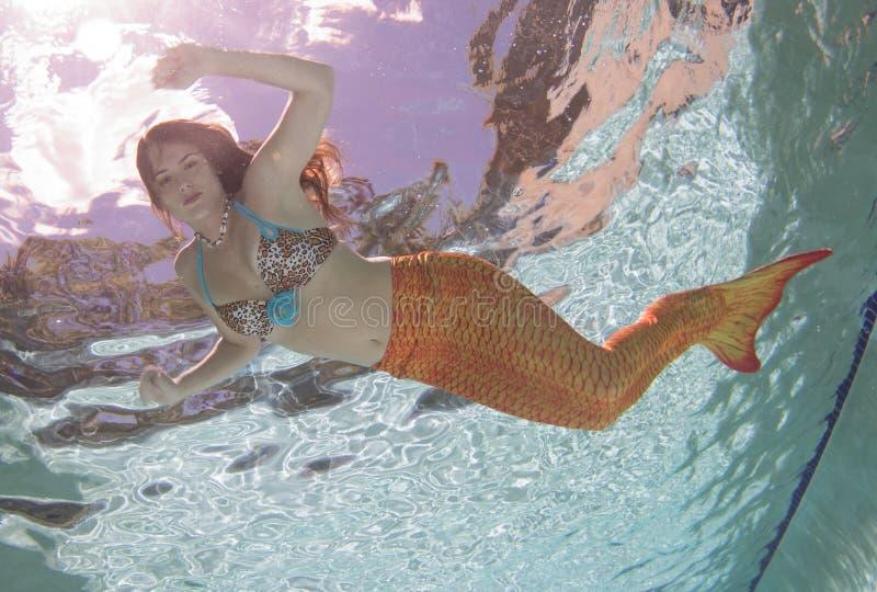 Een meermin met en een oranje staart onderwater stock afbeeldingen