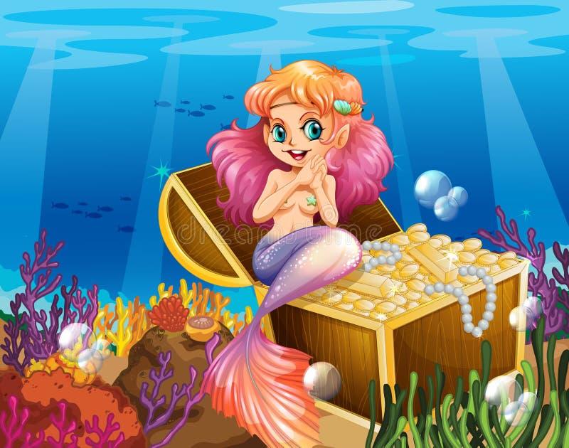 Een meermin onder het overzees naast de schatten royalty-vrije illustratie