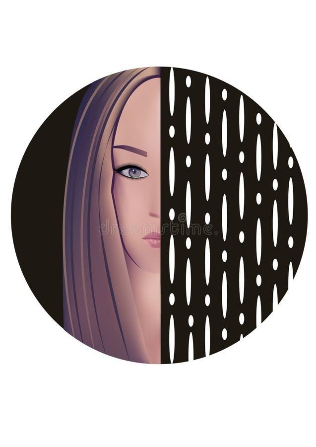 Een meisje, bruine wenkbrauwen, jong gezicht, grijze blauwe ogen royalty-vrije illustratie