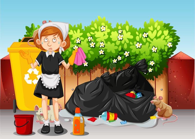 Een Meisje Cleaning Dirty Area stock illustratie