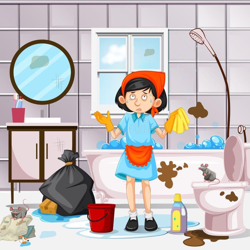 Een Meisje Cleaning Dirty Bathroom royalty-vrije illustratie