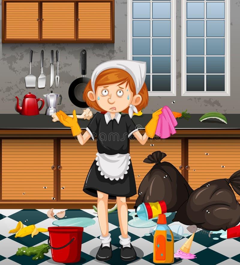 Een Meisje Cleaning Dirty Kitchen stock illustratie