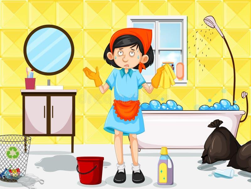Een Meisje Cleaning Dirty Toilet vector illustratie