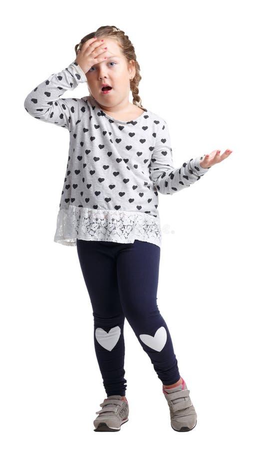 Een meisje dan iets verstoord op een wit geïsoleerde achtergrond royalty-vrije stock foto