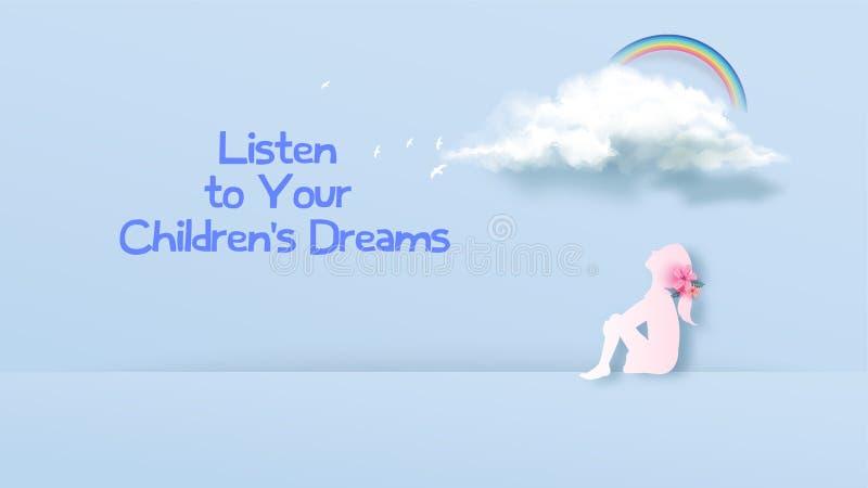 Een meisje dat de droomwolk bekijkt Het dromen het idee van het meisjesconcept de creatieve ontwerpen van het websitemalplaatje W royalty-vrije illustratie