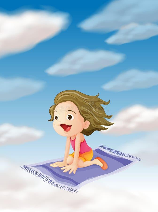 Een meisje dat op mat vliegt stock illustratie