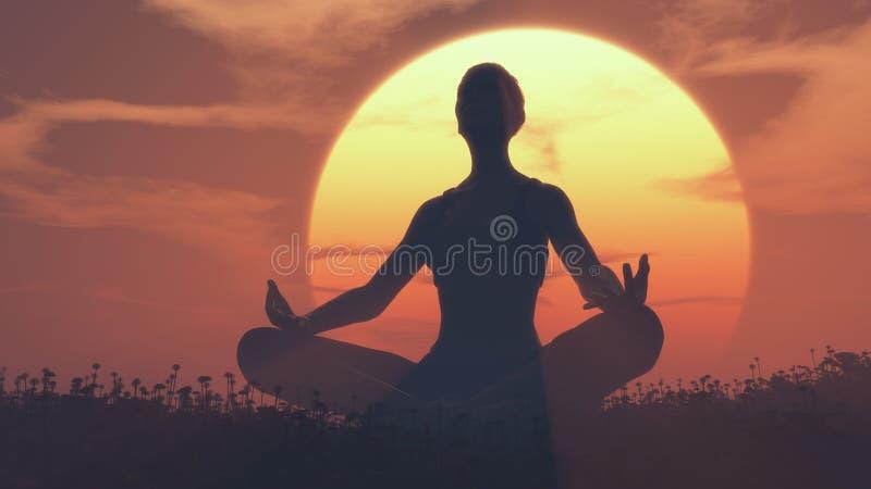 Een meisje dat yoga doet royalty-vrije illustratie
