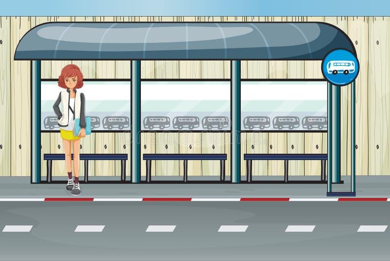 Een meisje in de bushalte vector illustratie
