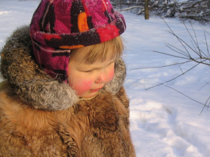 Een meisje in de winter stock fotografie