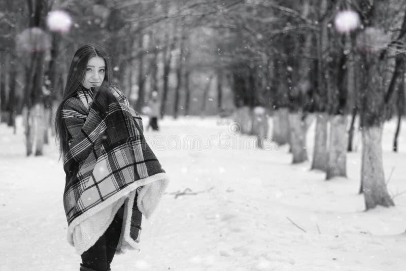 Een meisje in een de winter bewolkte dag royalty-vrije stock afbeeldingen