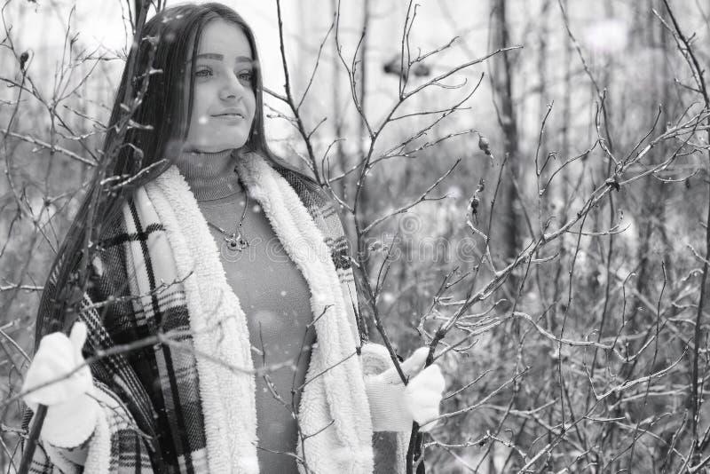 Een meisje in een de winter bewolkte dag royalty-vrije stock foto's