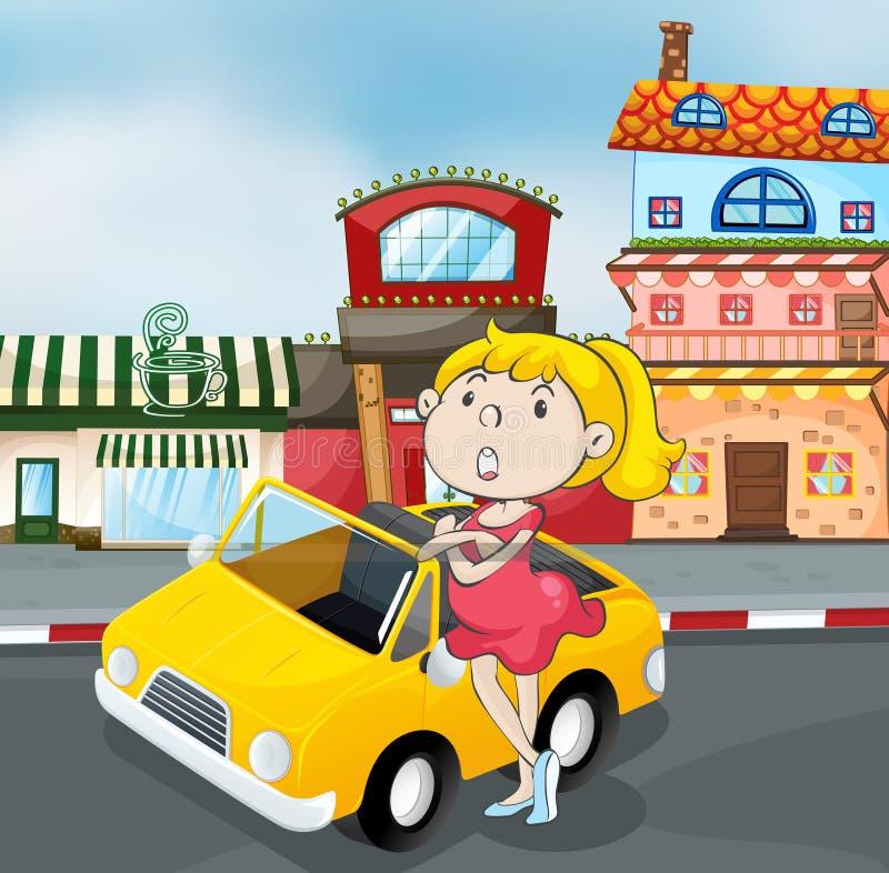 Een meisje dichtbij auto vector illustratie