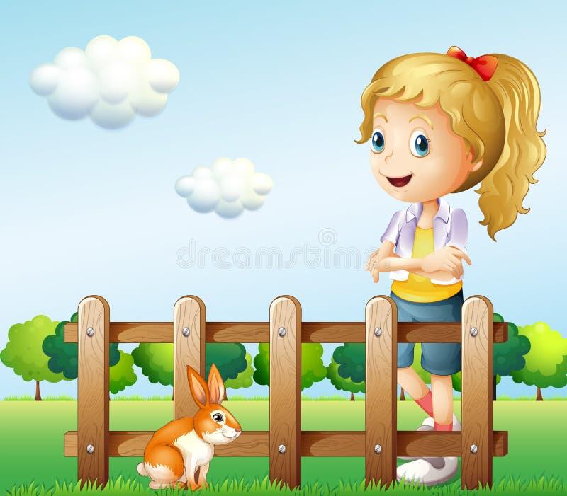Een meisje dichtbij de omheining met een konijn vector illustratie