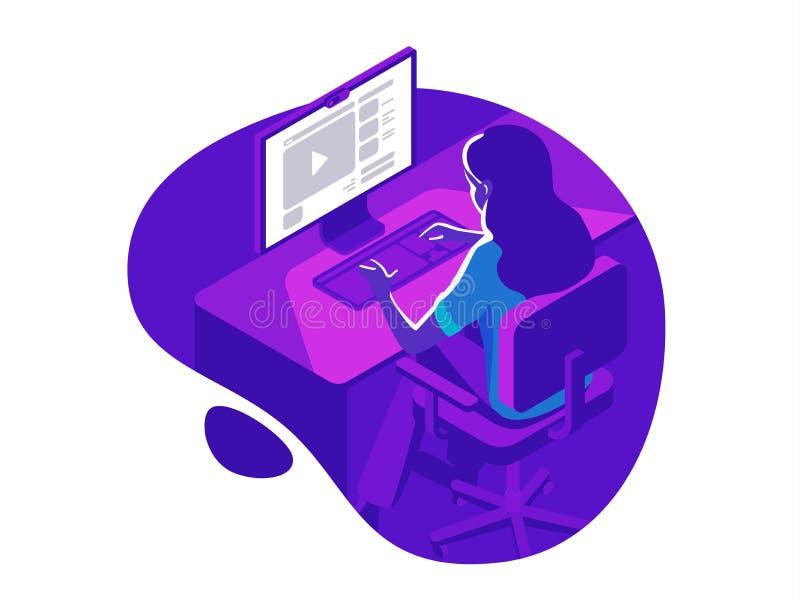 Een meisje die aan de computer in de avond op de donkere achtergrond werken Isometrische 3d vectorillustratie stock illustratie