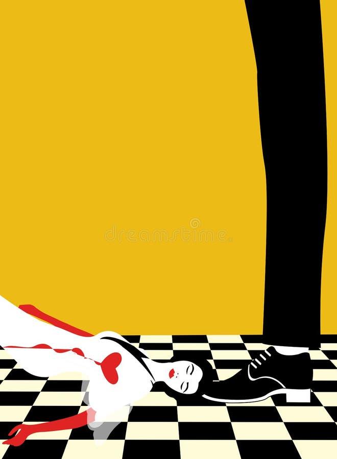 Een meisje die aan verworpen liefde sterven royalty-vrije illustratie