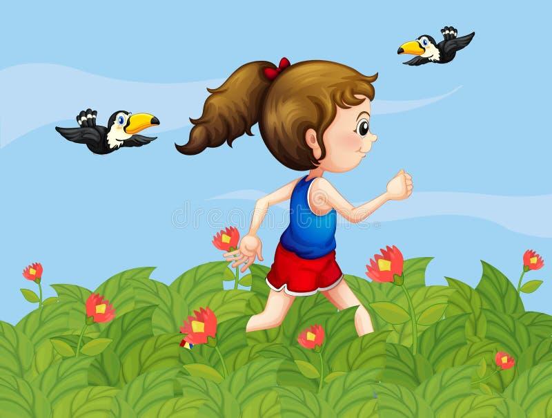 Een meisje die bij de tuin met vogels lopen vector illustratie