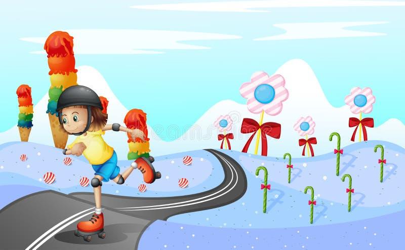Een meisje die bij de weg schaatsen royalty-vrije illustratie