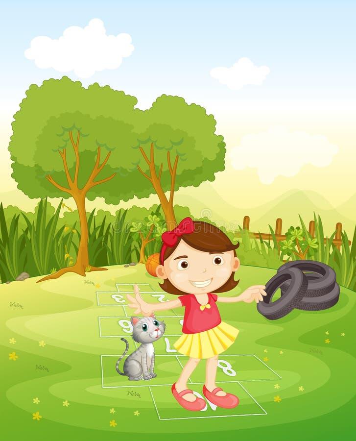Een meisje die bij het park met haar kat spelen stock illustratie