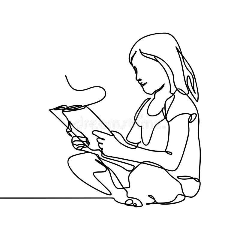 Een meisje die een boek één ononderbroken de tekeningsstijl lezen van de lijnkunst Een jong geitje zit in het kalme leren en het  vector illustratie