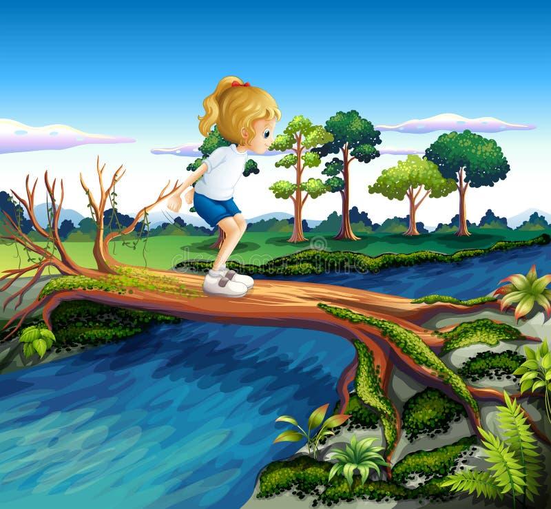 Een meisje die boven de boomstam spelen royalty-vrije illustratie