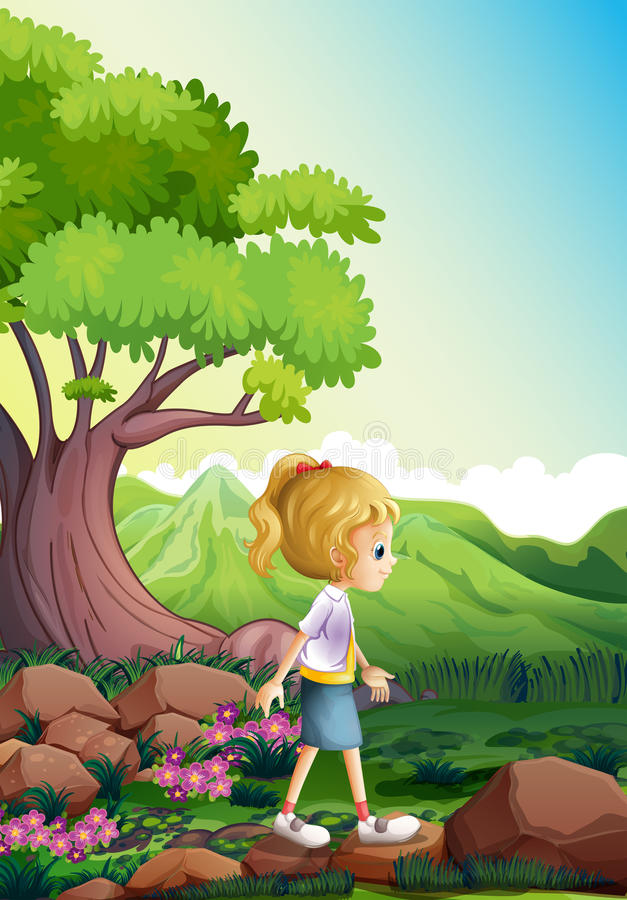 Een meisje die boven de rotsen in het bos lopen royalty-vrije illustratie