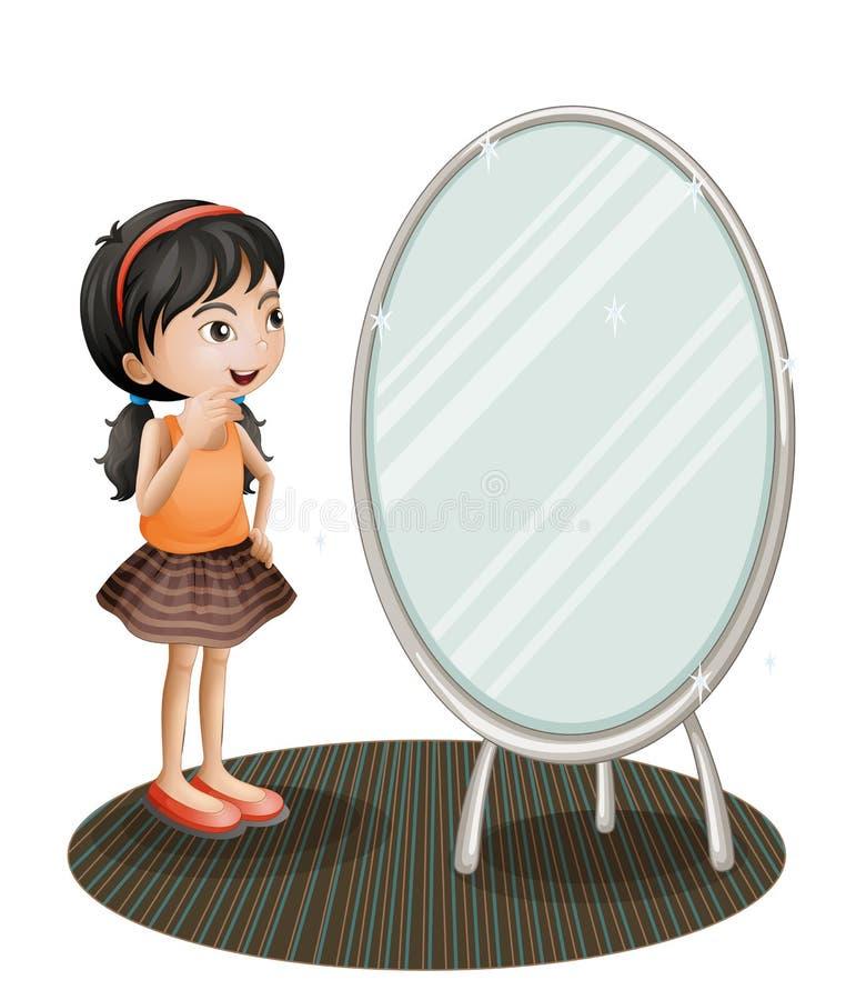 Een meisje die de spiegel onder ogen zien royalty-vrije illustratie