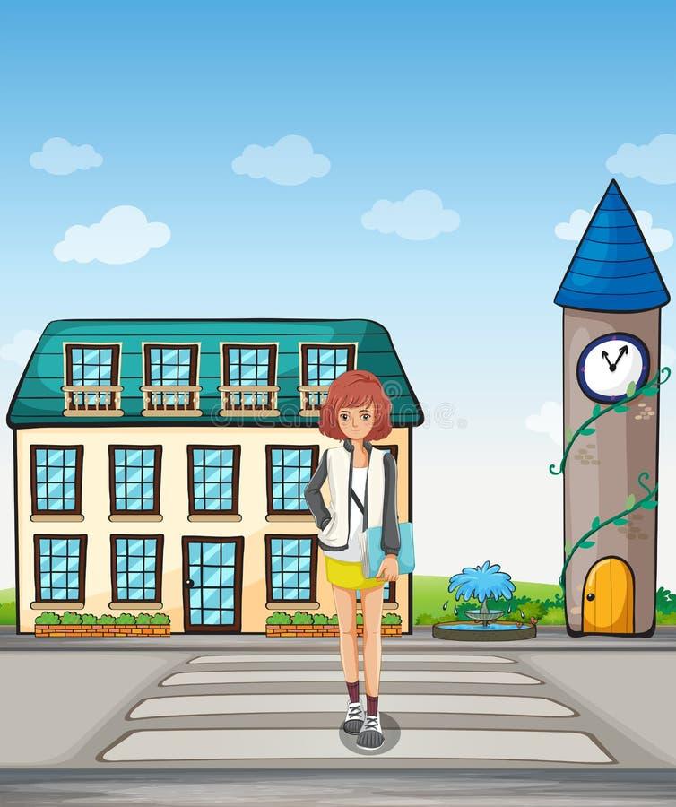 Een meisje die in de straat lopen royalty-vrije illustratie